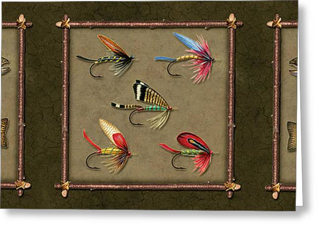Trout Fly Panel Greeting Card by Jon Q Wright