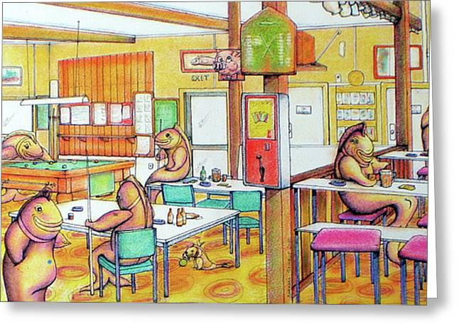 Trout Hotel Canvastown Greeting Card by Barbara Stirrup