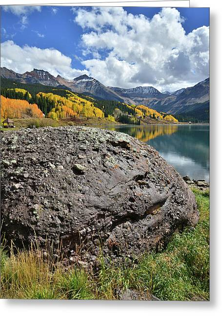 Trout Lake Boulder Greeting Card by Ray Mathis