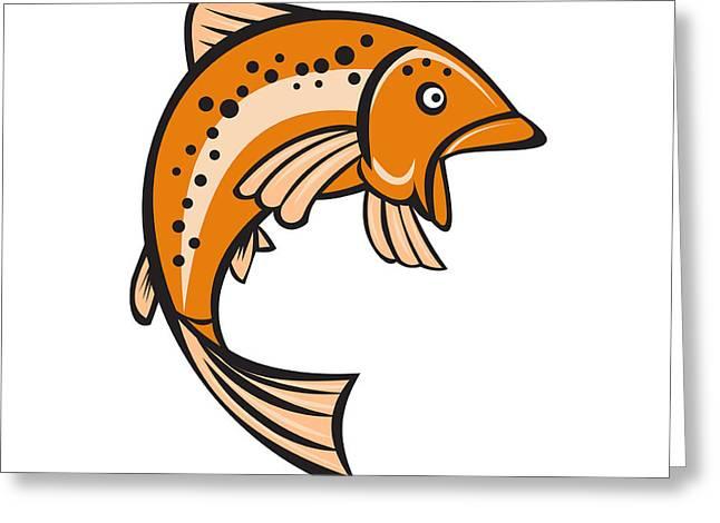 Trout Rainbow Fish Jumping Up Cartoon  Greeting Card by Aloysius Patrimonio