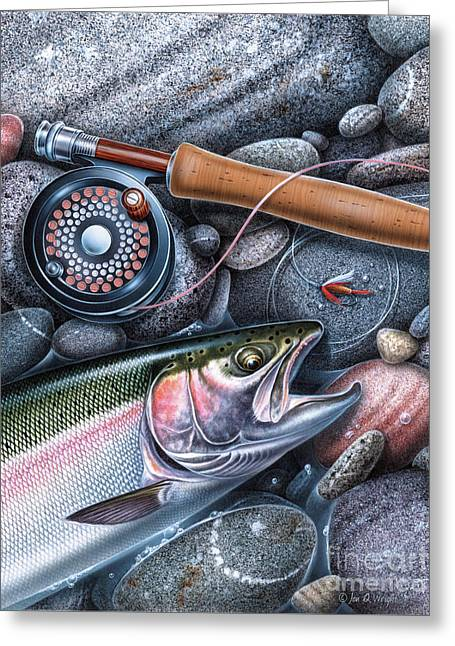 Trout Reel On Rocks Greeting Card