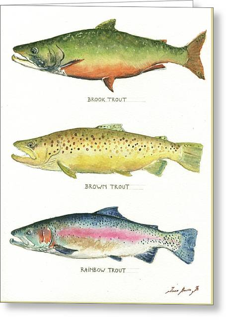 Trout Species Greeting Card by Juan Bosco