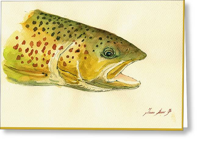 Trout Watercolor Painting Greeting Card by Juan  Bosco