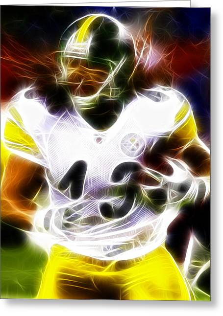 Actions Mixed Media Greeting Cards - Troy Polamalu Greeting Card by Paul Van Scott