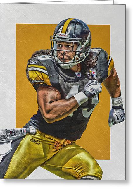 Troy Polamalu Pittsburgh Steelers Art Greeting Card