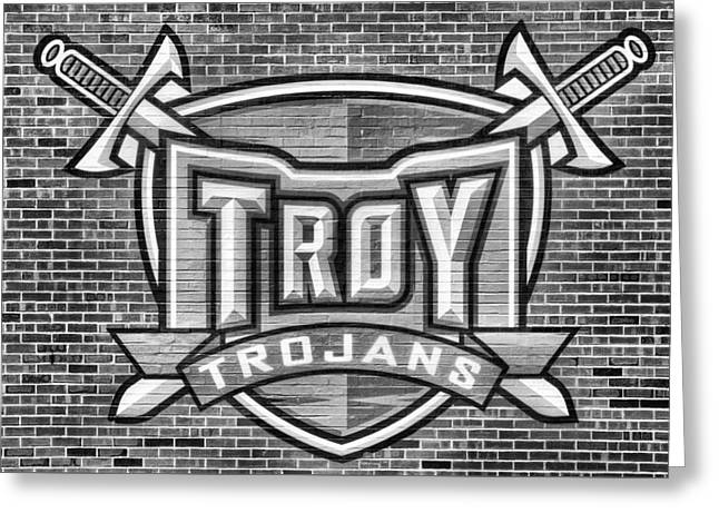 Troy Trojans Black And White Greeting Card by JC Findley