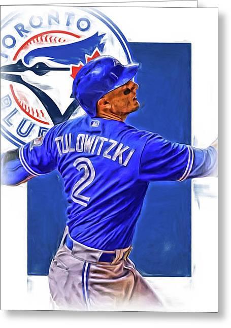 Troy Tulowitzki Toronto Blue Jays Oil Art Greeting Card
