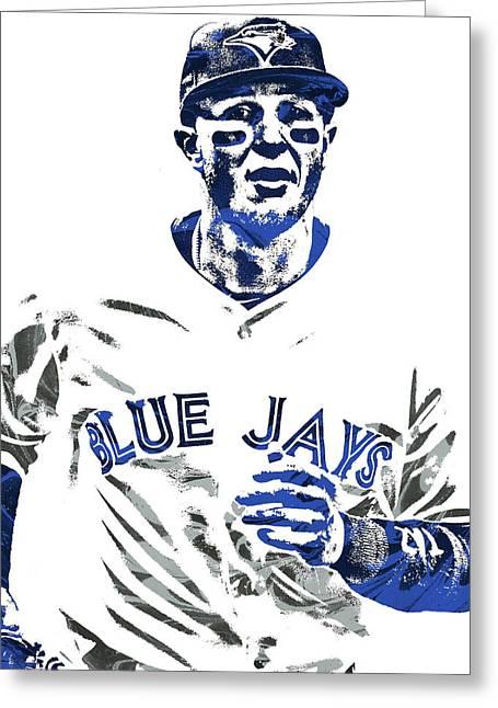 Greeting Card featuring the mixed media Troy Tulowitzki Toronto Blue Jays Pixel Art by Joe Hamilton