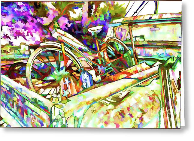 Truck And Bicycle Greeting Card