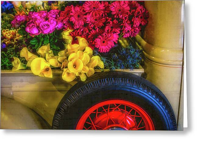Truck Bed Full Of Flowers Greeting Card