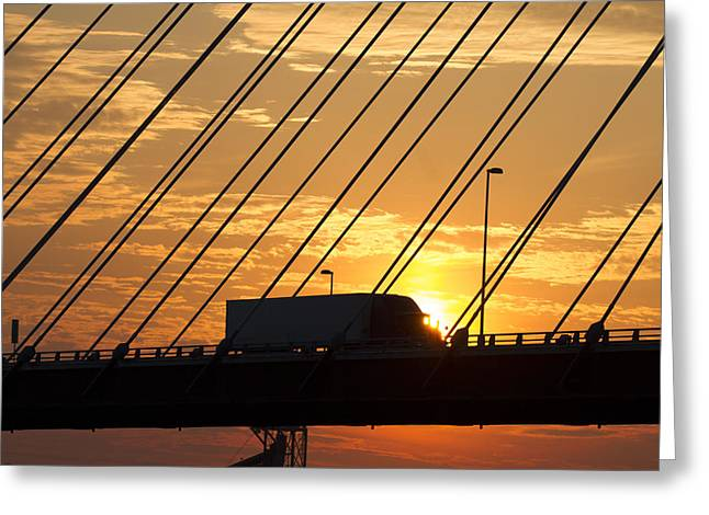 Truck Crossing The Mississippi River Greeting Card by Garry McMichael