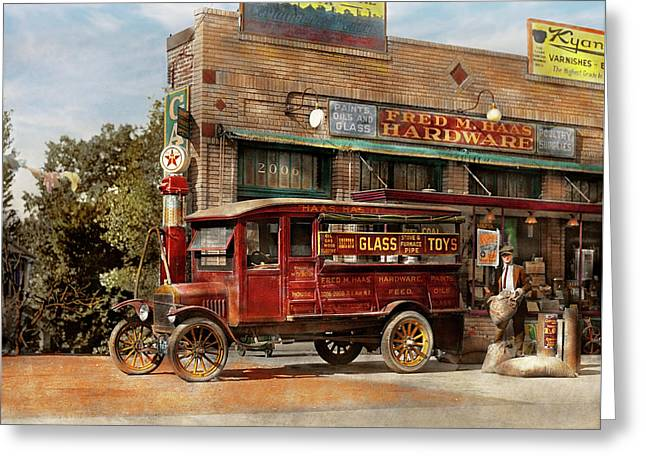 Truck - Delivery - Haas Has It 1924 Greeting Card by Mike Savad