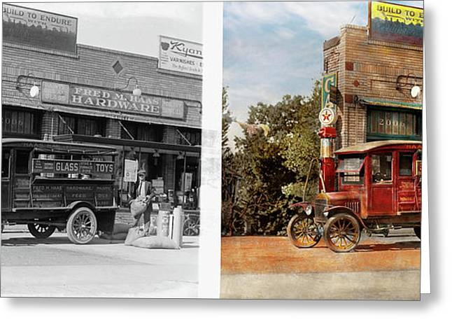 Truck - Delivery - Haas Has It 1924 - Side By Side Greeting Card by Mike Savad