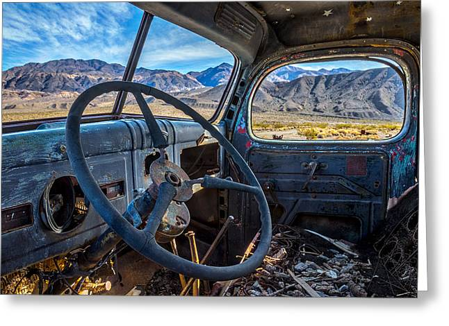 Truck Desert View Greeting Card by Peter Tellone