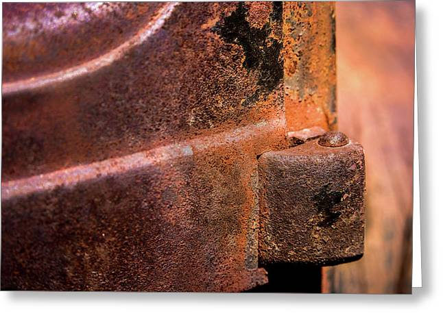 Greeting Card featuring the photograph Truck Door Hinge by Onyonet  Photo Studios
