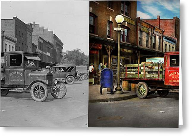 Greeting Card featuring the photograph Truck - Home Dressed Poultry 1926 - Side By Side by Mike Savad