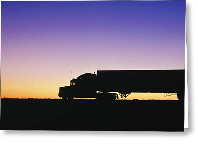 Commerce Greeting Cards - Truck Parked on Freeway at Sunrise Greeting Card by Jeremy Woodhouse