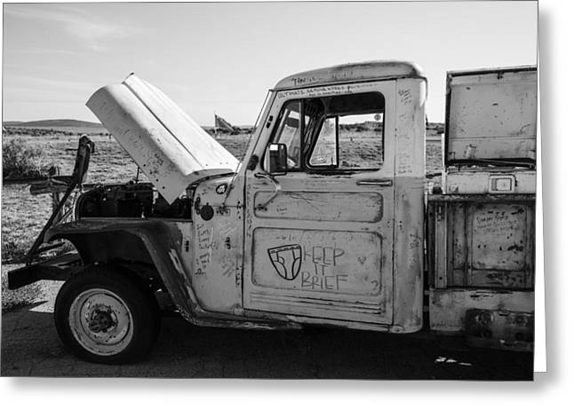 Truck With Hood Up On Route 66 Greeting Card by John McGraw