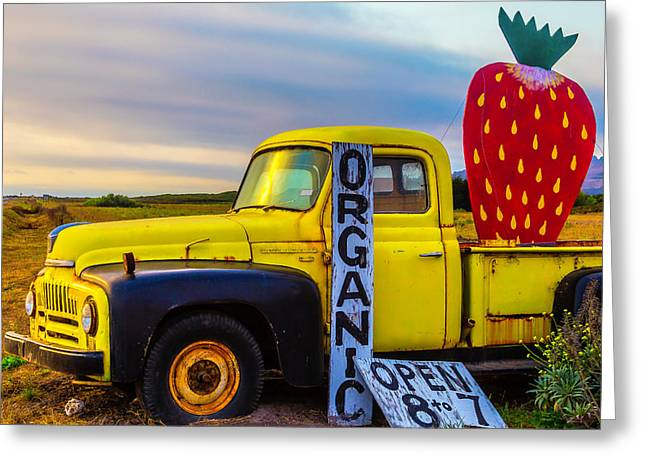 Truck With Strawberry Sign Greeting Card by Garry Gay