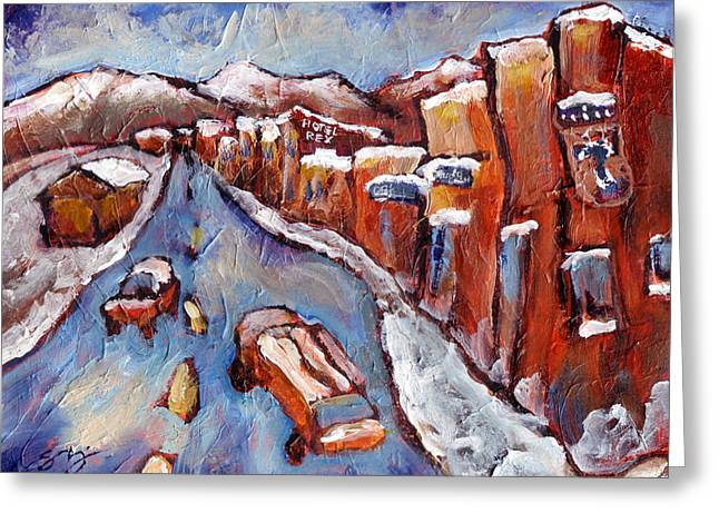 Truckee First Snow Greeting Card by Sara Zimmerman