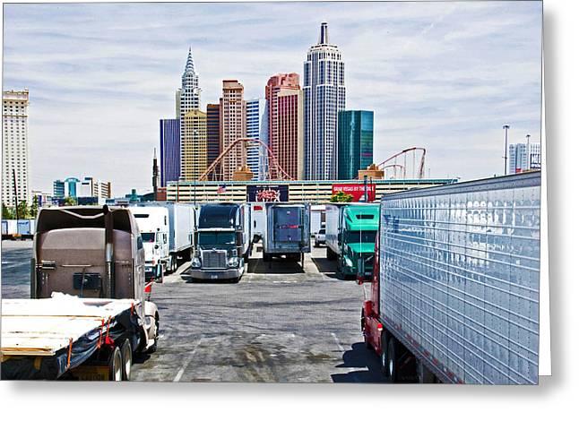 Truckers Visit Vegas.1 Greeting Card by Keith Birmingham