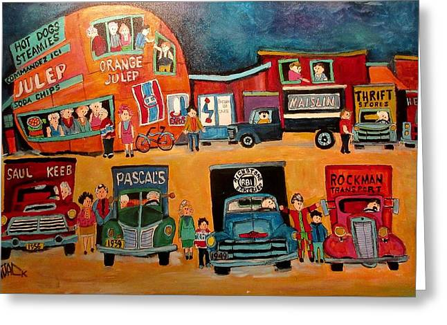 Trucking Muscle At The Orange Julep 1960's Montreal Memories Greeting Card