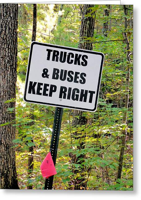 Trucks And Buses Keep Right Greeting Card by Lanjee Chee