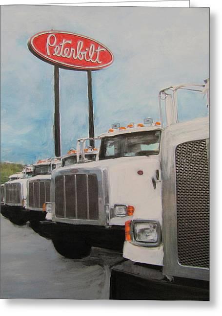 Trucks And Peterbilt Sign Greeting Card by Anita Burgermeister