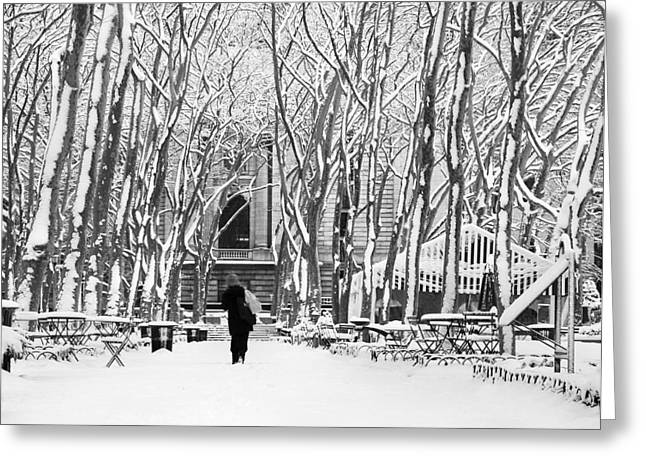 Trudging Through The Snow Greeting Card by Andrew Kazmierski