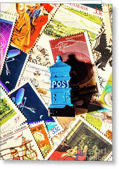 True Blue Postbox Greeting Card