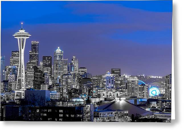 True To The Blue In Seattle Greeting Card