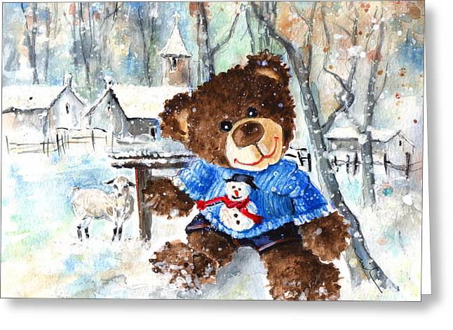 Truffle Mcfurry And His Snowman Jumper Greeting Card by Miki De Goodaboom