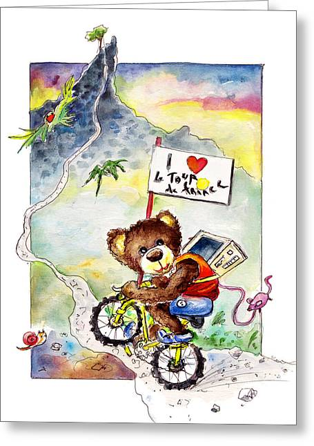 Truffle Mcfurry At The Tour De France Greeting Card by Miki De Goodaboom