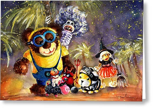 Truffle Mcfurry Halloween Party Greeting Card by Miki De Goodaboom