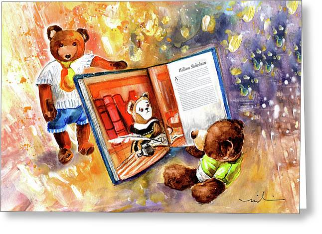 Truffle Mcfurry Reading The Teddy Bear Hall Of Fame Greeting Card by Miki De Goodaboom