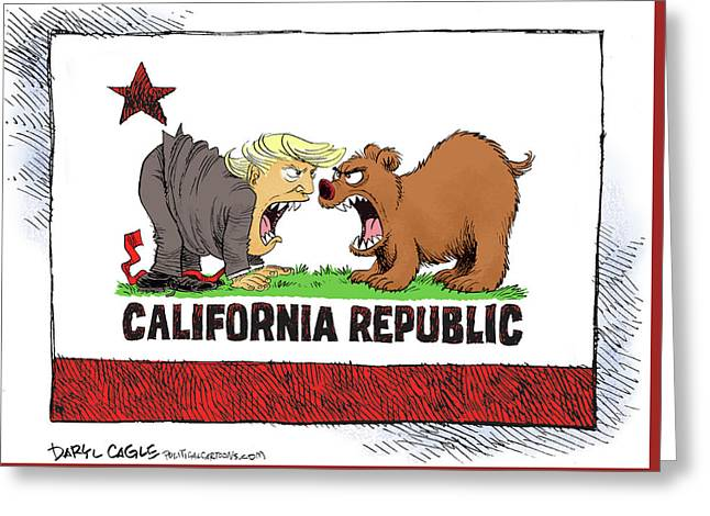 Trump And California Face Off Greeting Card