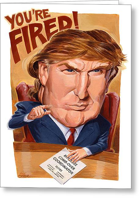 Apprentice Greeting Cards - Trump Fires Back Greeting Card by Shawn Shea