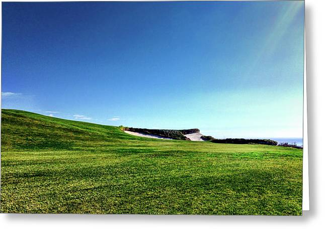 Trump Golf Course Fairway And Bunkers Against Blue Sky Greeting Card