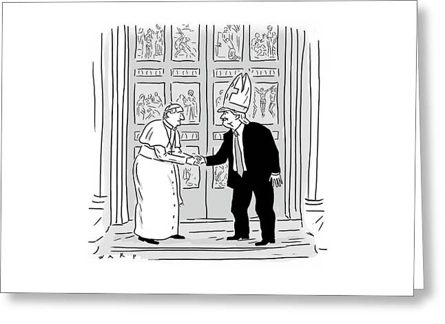 Trump Meets Pope Francis. Greeting Card