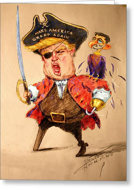 Trump, The Short Fingers Pirate With Ryan, The Bird Greeting Card