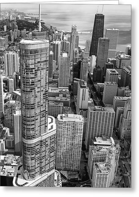 Trump Tower And John Hancock Aerial Black And White Greeting Card