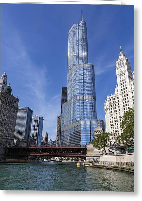 Trump Tower Chicago Greeting Card by Adam Romanowicz