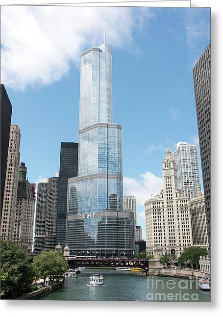 Trump Tower Overlooking The Chicago River Greeting Card
