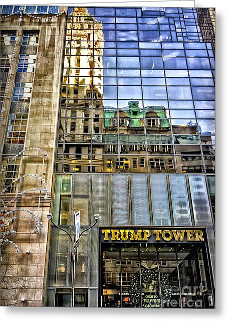 Greeting Card featuring the photograph Trump Tower With Reflections by Walt Foegelle