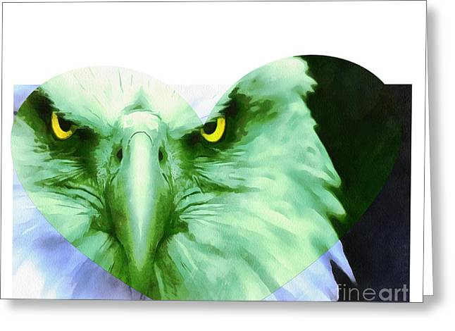 Trumped Green On Blue Greeting Card by Catherine Lott