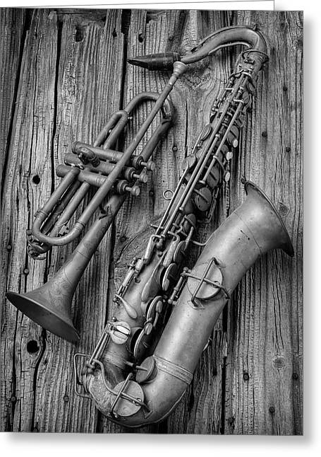 Trumpet And Sax Greeting Card