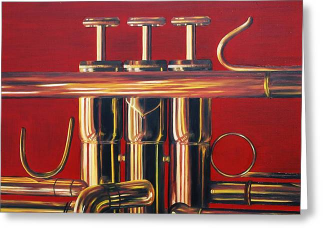 Trumpet In Red Greeting Card by Emily Page