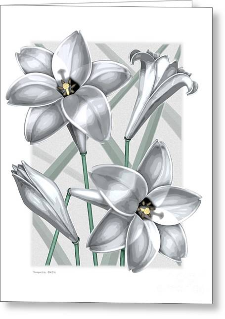 Trumpet Lilies Greeting Card by David Azzarello