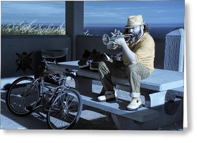Trumpet Player Playing The Blues Fermin Point Los Angeles In Infrared Greeting Card by Randall Nyhof