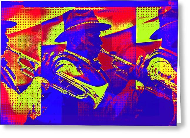 Trumpet Player Pop-art Greeting Card
